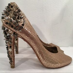 Sam Edelman Leather Gold Studded Peep Toe Pumps